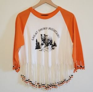 Vintage Smoky Mountains crop tee with beads